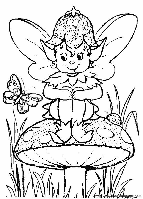 picture elf-with-butterfly-and-mushroom.jpg | Coloring pages ...