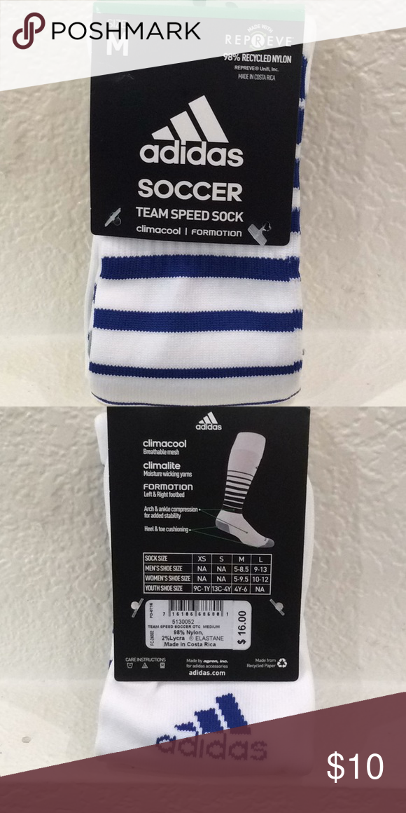 6d1522828289 Adidas Soccer Socks Blue and white team spread sock climacool. adidas  Underwear   Socks Athletic Socks