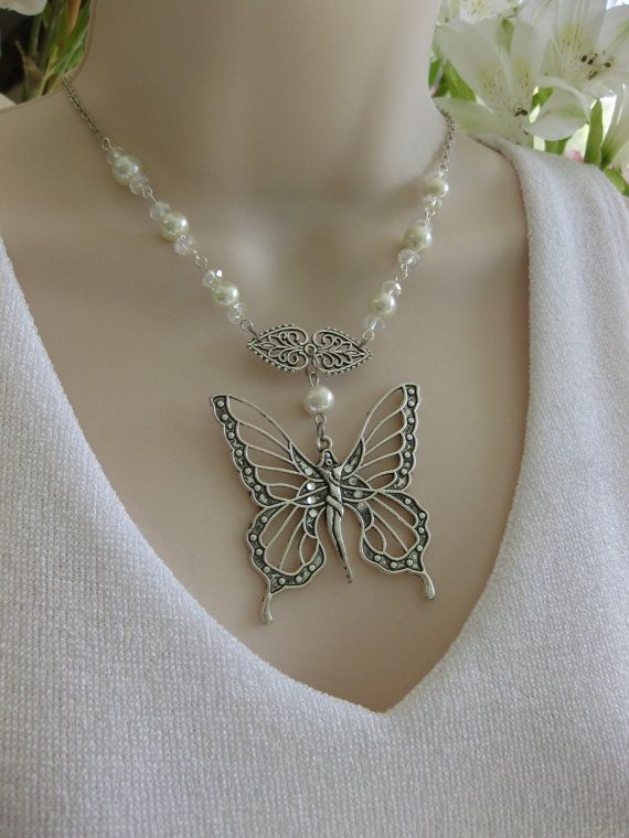 Butterfly Necklace Pearl Crystal Bead Bridal Necklace Butterfly