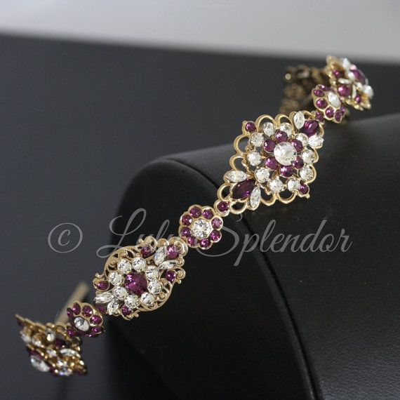 Purple Bejewelled Headband Highly Decorated With Rhinestones Size 16+