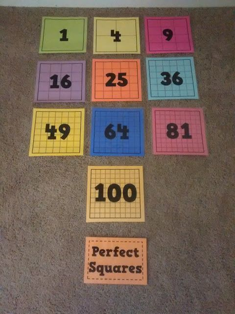 Math Love Posters Of Perfect Squares And Perfect Cubes 8th
