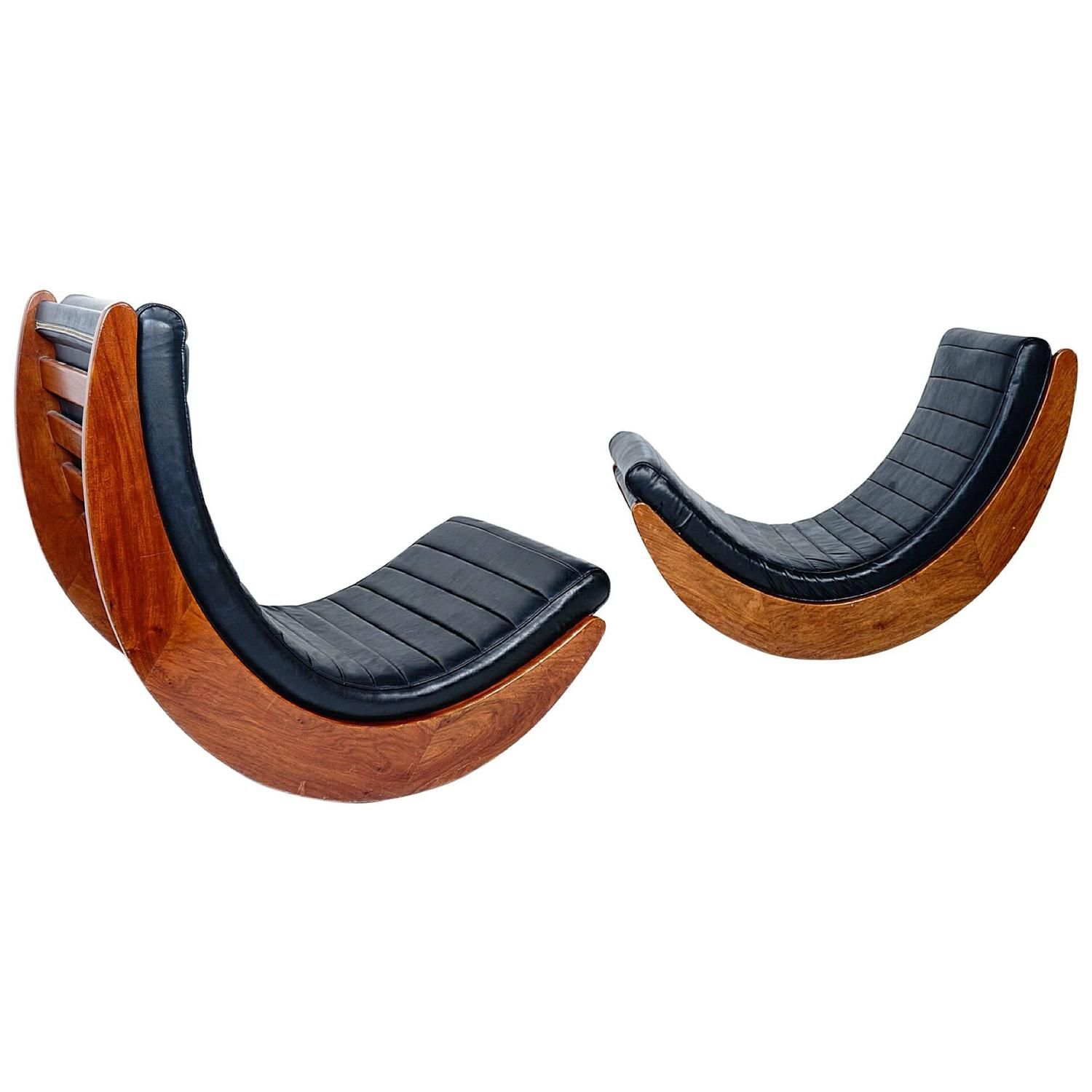 Rare Pair Of Verner Panton Leather Relaxer Chairs For Rosenthal   From A  Unique Collection Of