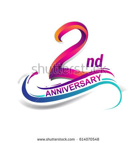 nd anniversary celebration logotype blue and red colored two years birthday logo on white background also rh za pinterest