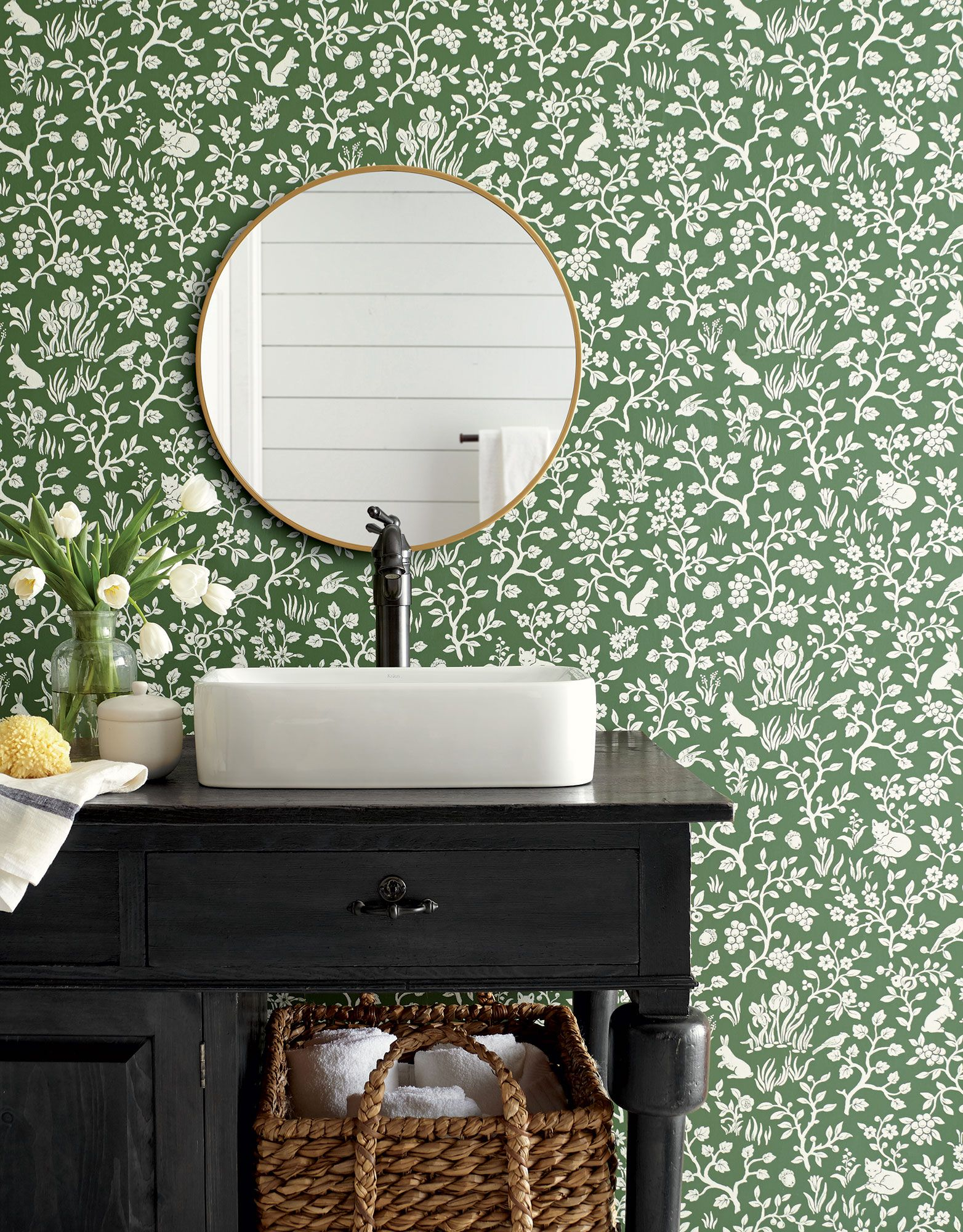 Magnolia Home Fox Amp Hare Wallpaper Forest Green In 2020
