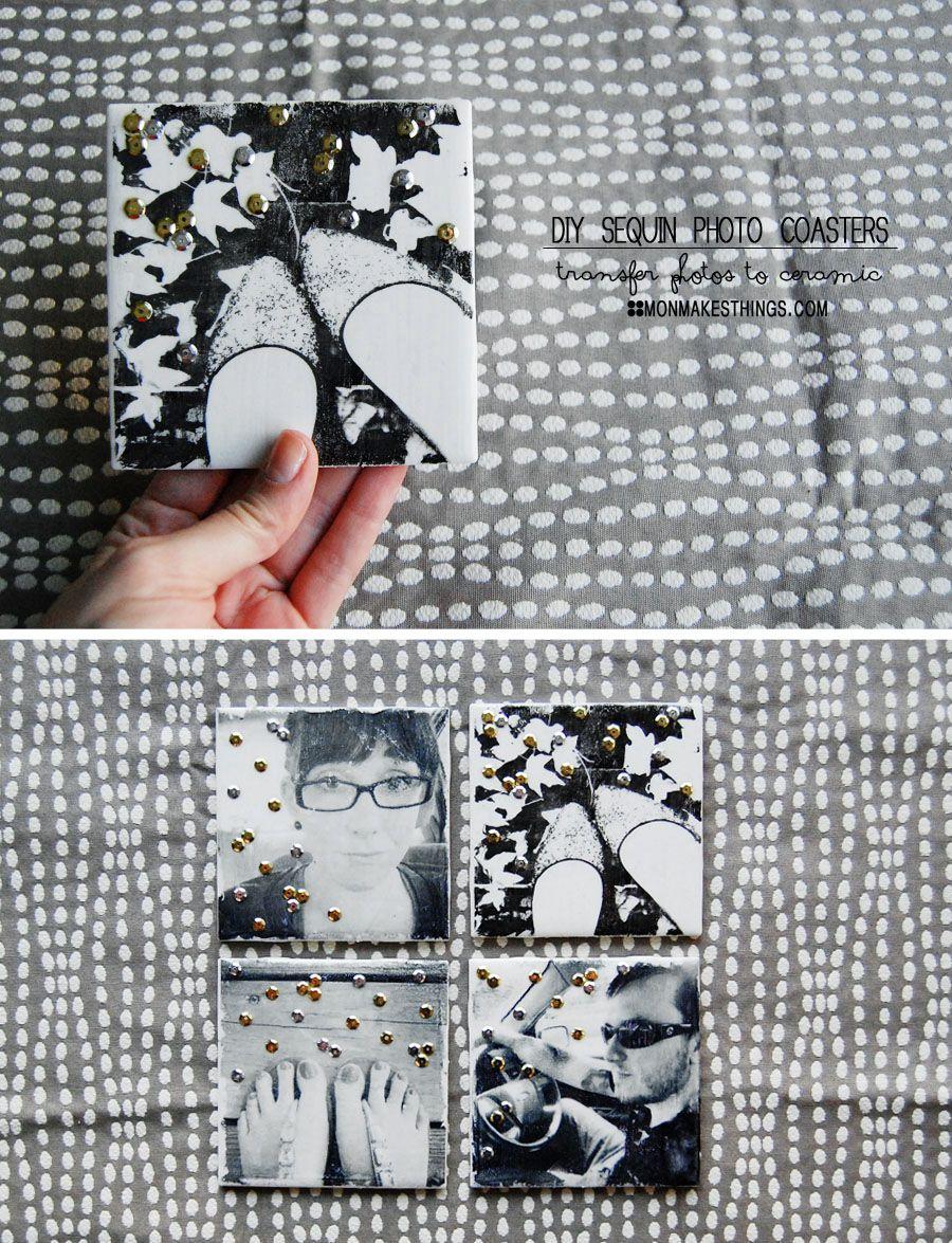 Diy Photo Transfer Coasters An Image Onto Ceramic Tiles Using Glue