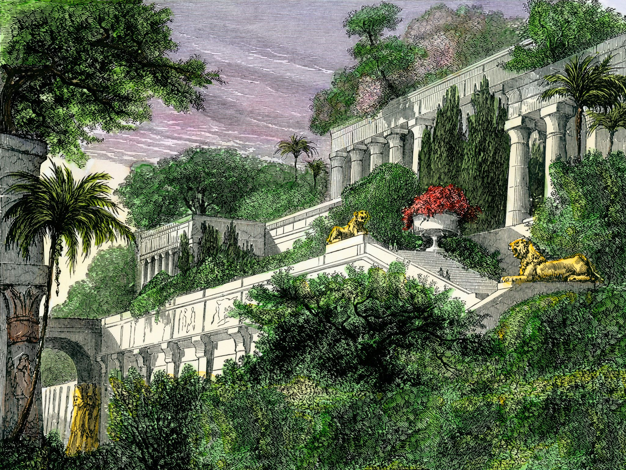 The Hanging Gardens Of Babylon, One Of The Seven Wonders Of The Ancient  World,