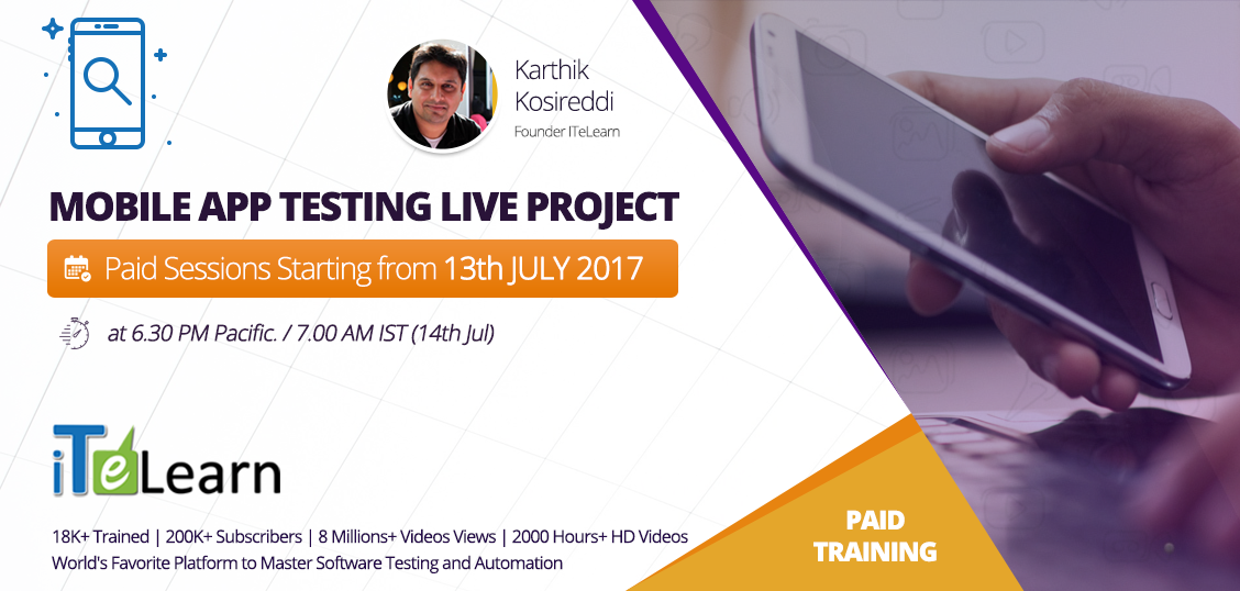 At a time when mobile apps are playing important roles in our day to day life, mobile apps #testing has earned enormous importance. Join MAT live #training to become a professional #MobileApp tester. Click here to know more details.   http://itelearn.com/event/mat-live-project-may-2017/