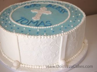Blue and white cross baptism/christening cake with embossed fondant sides. www.DolcezzaCakes.com