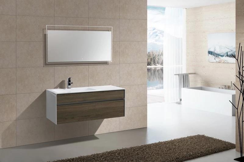 Tona 48 Havana Oak Modern Wall Mount Bathroom Vanity Offset