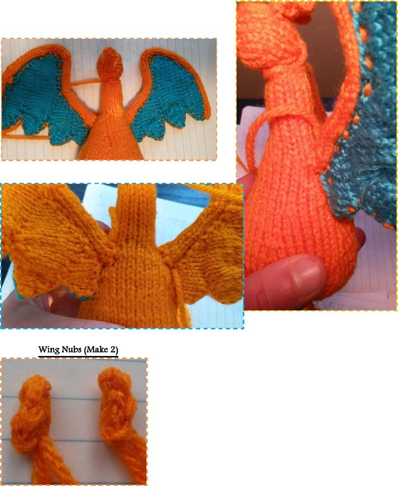 This is a knitted pattern for the pokemon Charizard.   Figures ...