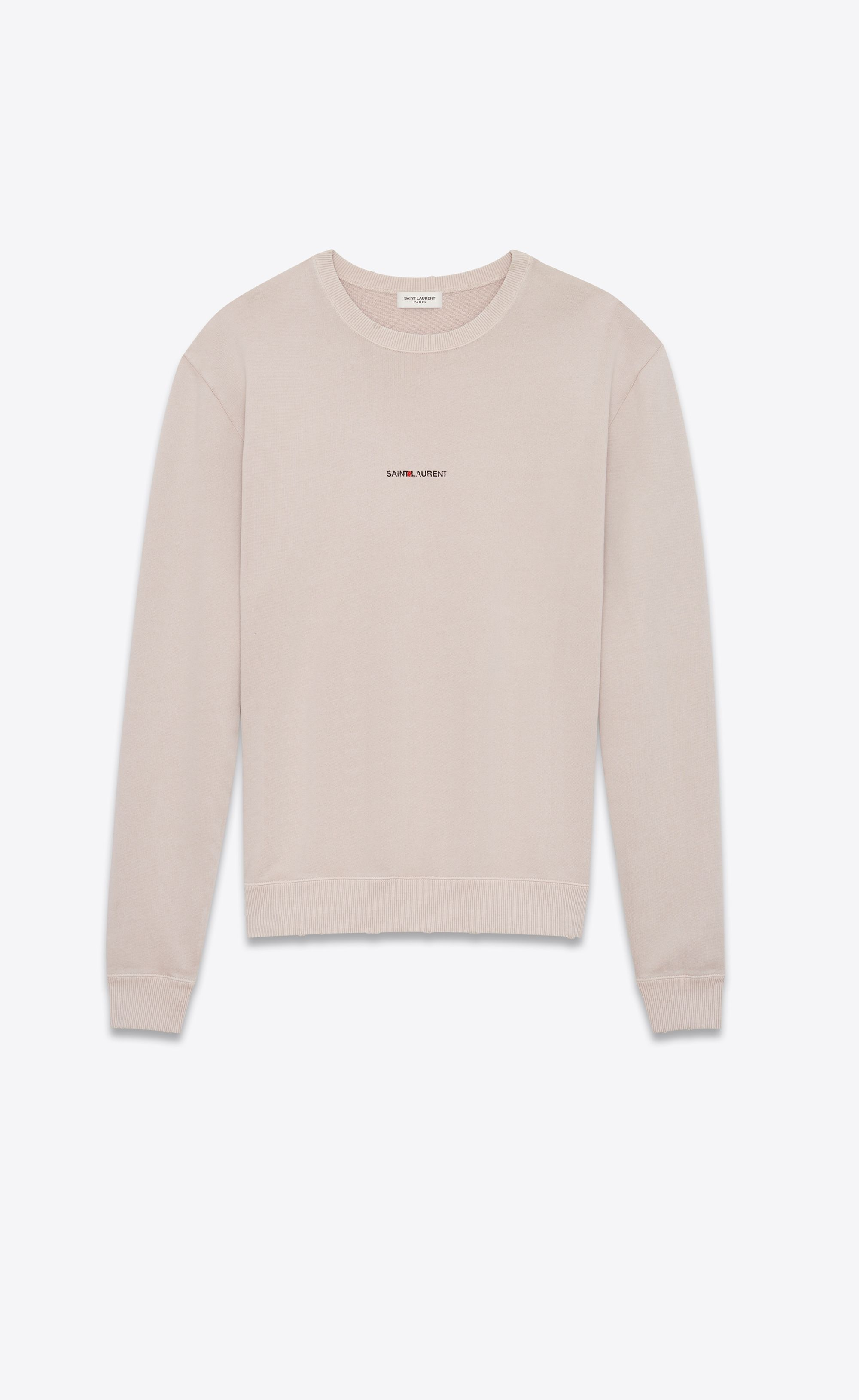 78d129d6da Saint Laurent Sweatshirt With SAINT LAURENT Square In Light Pink Worn Look  Cotton Fleece