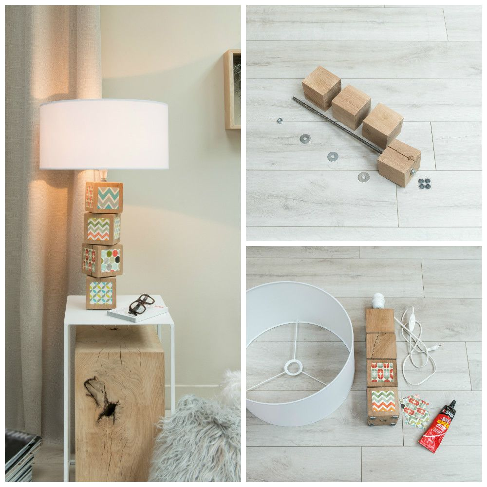 diy cr er une lampe avec des cubes de bois. Black Bedroom Furniture Sets. Home Design Ideas