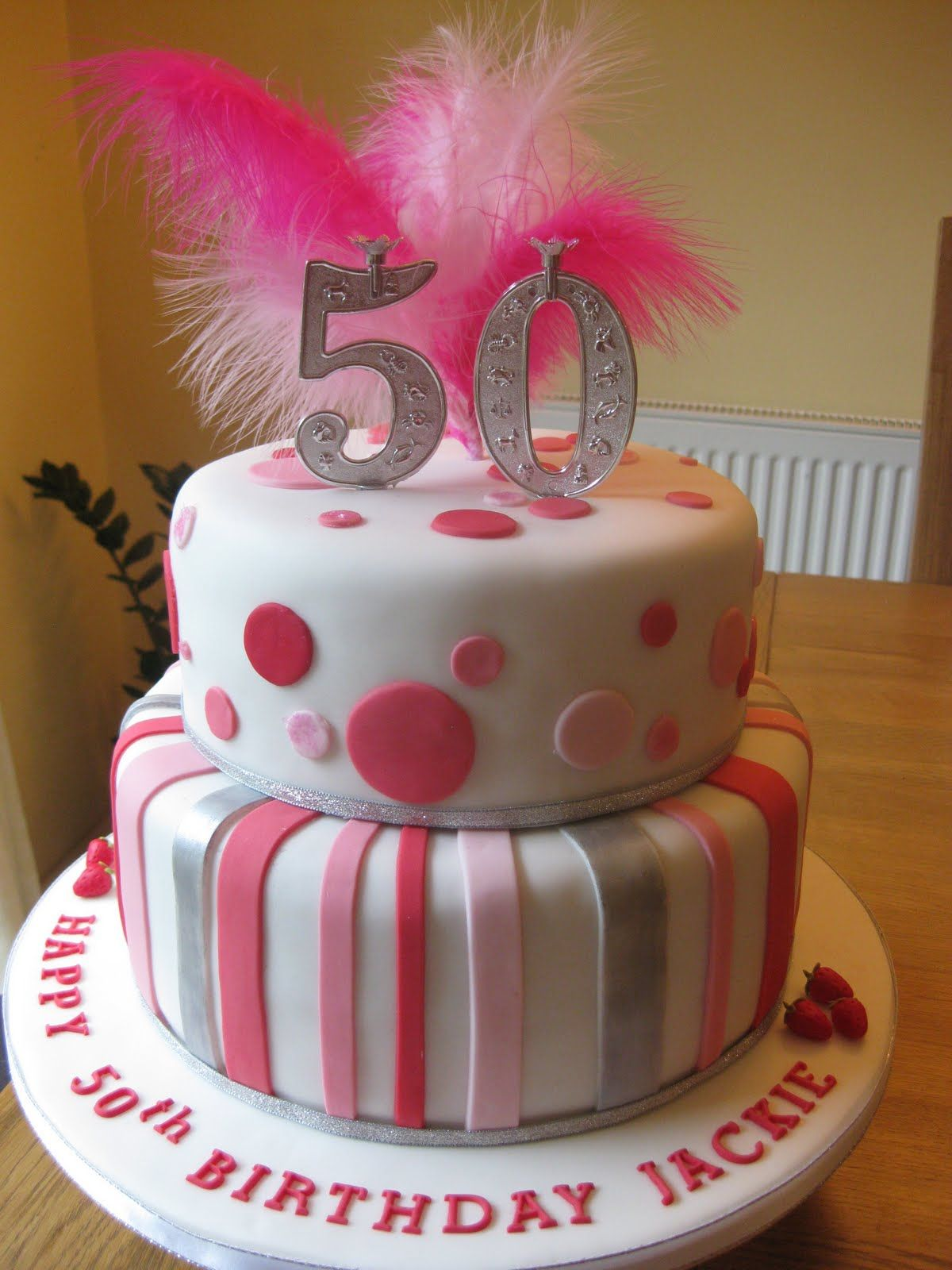 50th Birthday Cake With Blue Or Black Dots For Mom 50th Birthday
