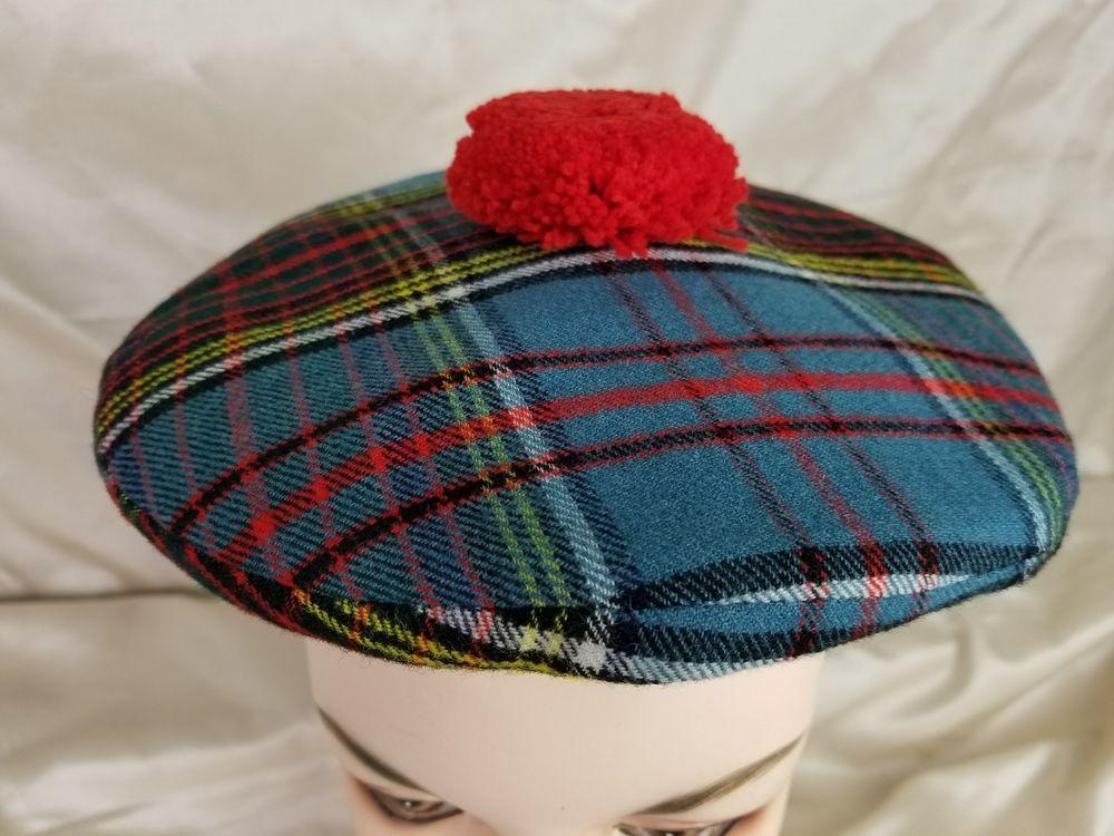 0f910e56dfe Vintage Scotch House Hat Tartan Plaid Wool size S Scotland Pom Pom Beret Cap   VintageScotchHouse  NewsboyCabbie