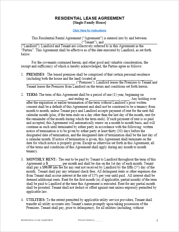 free residential lease agreement template for word by
