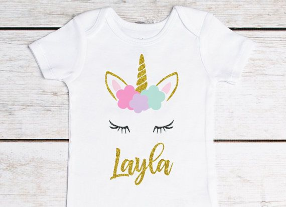 Unicorn Birthday First Outfit 1st Girls Personalized Shirt