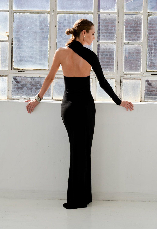 Formal Maxi Dress / One Shoulder Dress / Black Dress / Prom Dress ...