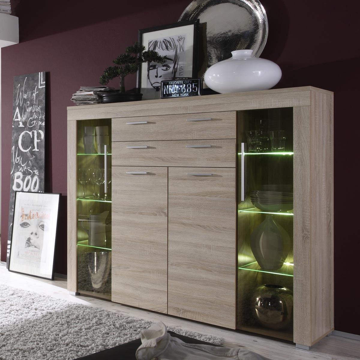 Highboard Vitrine In Weiss Mit Eiche Furniert Led Beleuchtung Jetzt Bestellen Unter Furniture Design Living Room Kitchen Furniture Design Dining Room Interiors