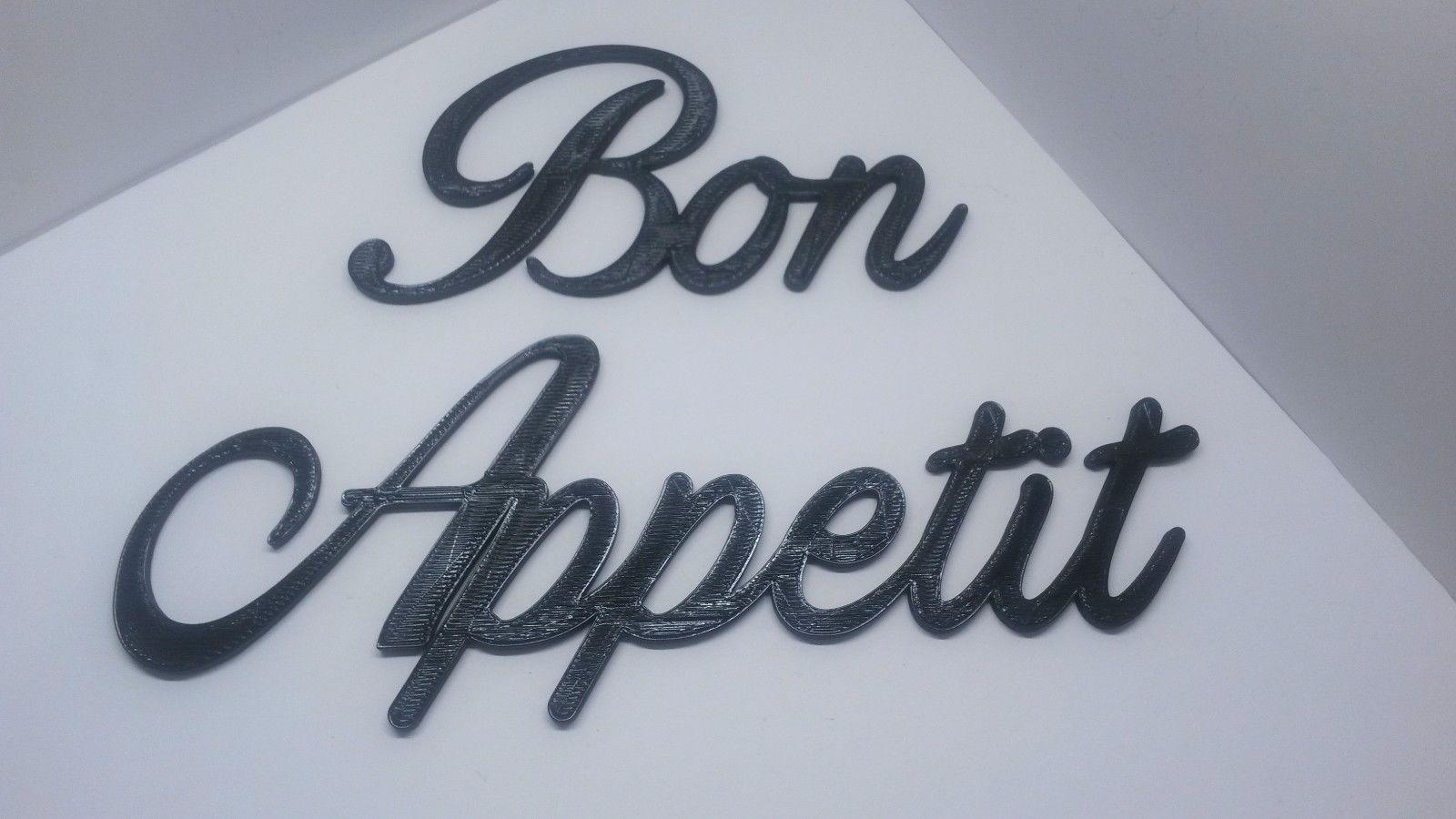 Bon appetit word art sign home kitchen wall hanging cursive script