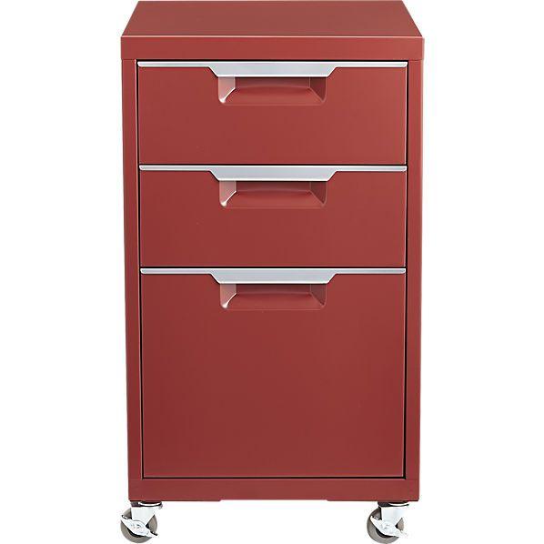 TPS Brick Red 3 Drawer Filing Cabinet   CB2