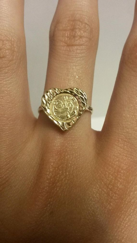 Yellow Gold Panda Coin Heart Ring Jewelry Heart Ring Panda Ring