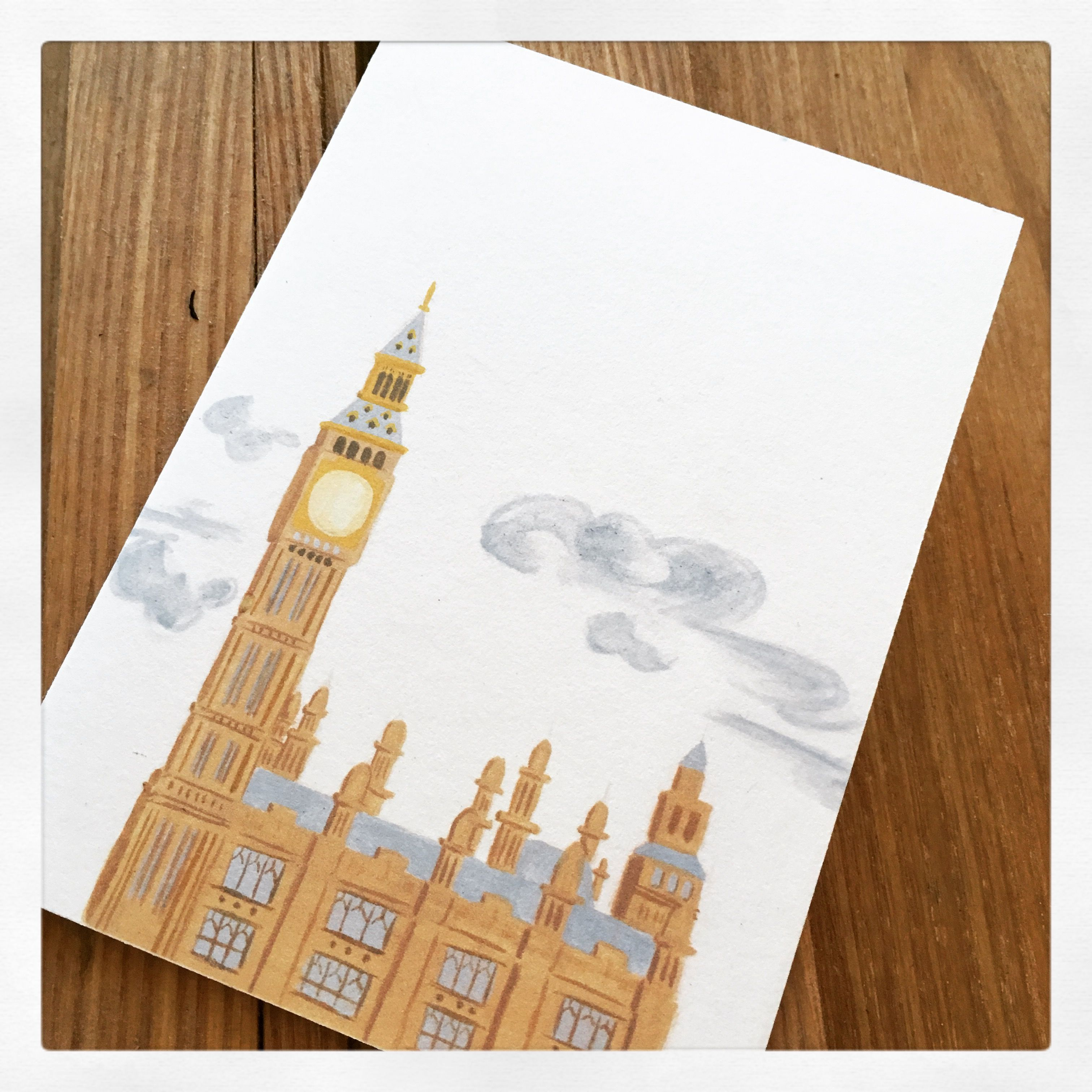big ben note card with images  handmade paper note