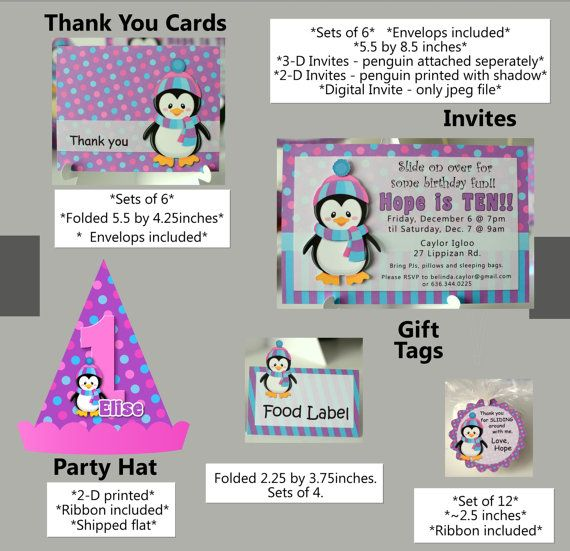 Penguin Birthday Party Supplies Or Penguin Baby Shower Decorations    Invitations, Banner, Penguin Cake Topper, Cupcake Toppers, Party Favors