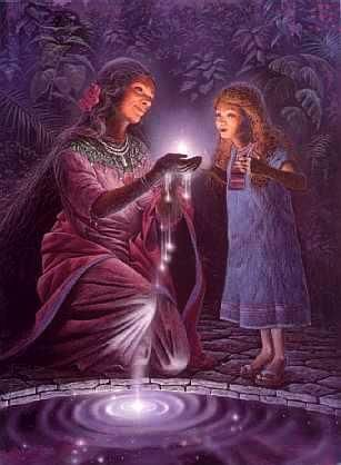 Crone with child showing the life of magic .