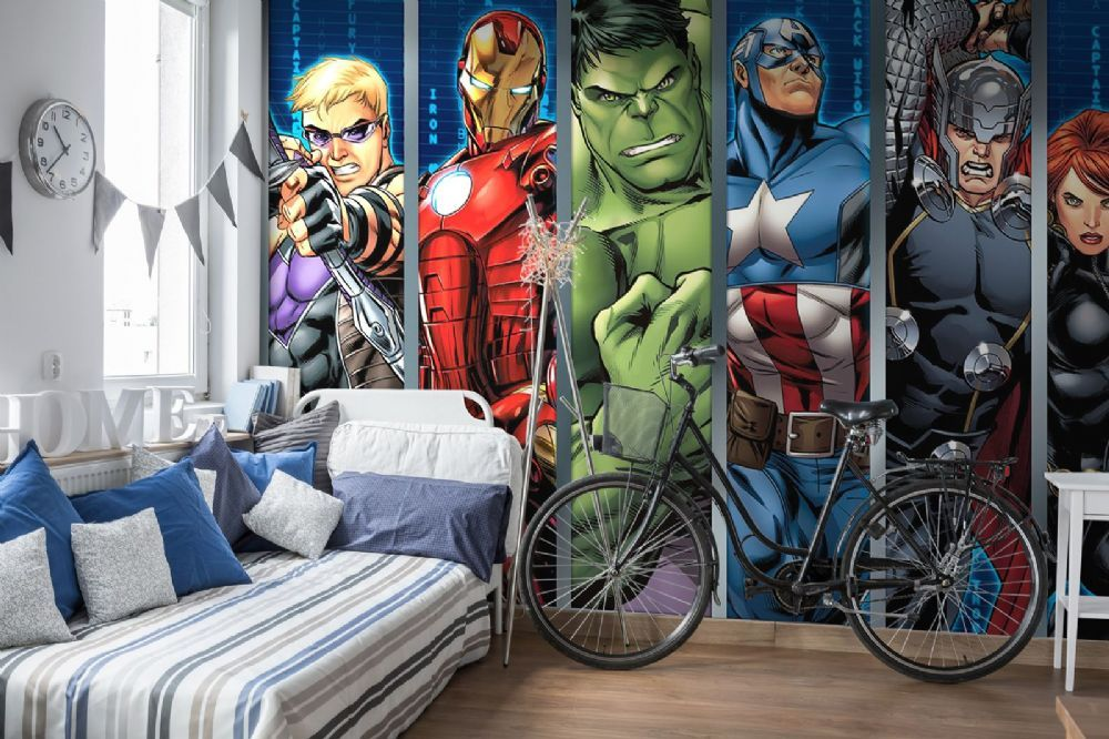 Huge Wallpaper mural boy/'s bedroom Marvel Avengers Team blue photo wall Hulk