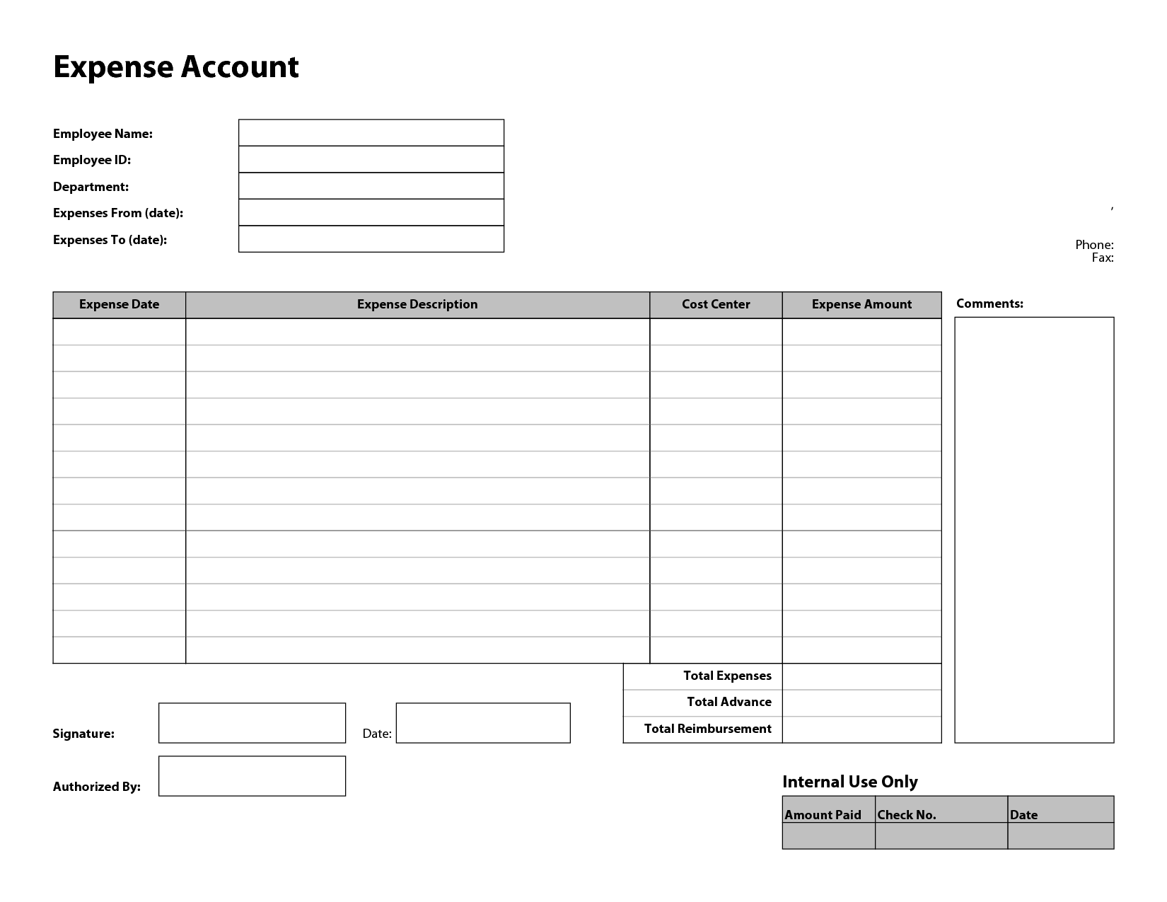 Employee Expense Report  Employee Forms    Template