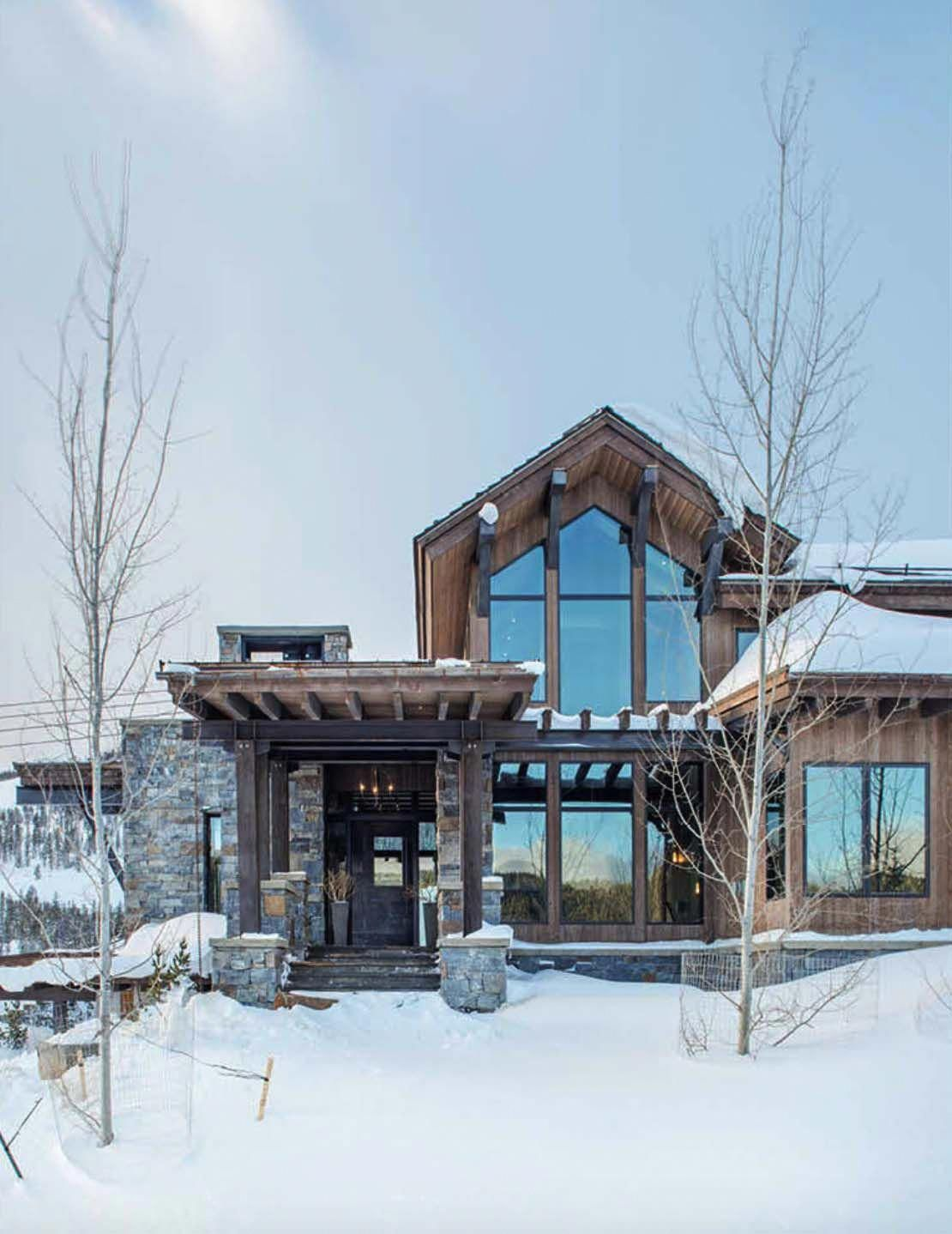 Modern Rustic Mountain Home With Spectacular Views In Big Sky Country Mountain Home Exterior Rustic Houses Exterior Modern Rustic Homes
