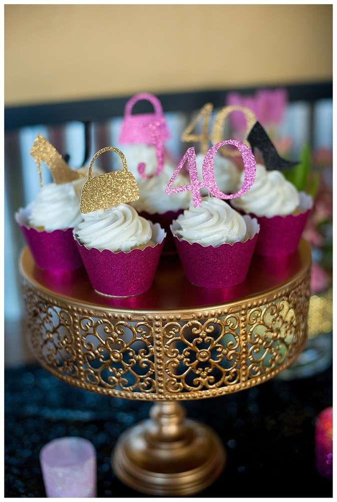Glittery Cupcakes At A 40th Birthday Party See More Planning Ideas CatchMyParty