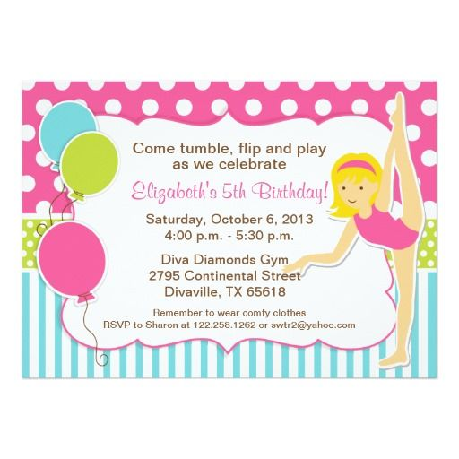 Gymnastic Blonde Girl Birthday Party Card Girl birthday - best of invitation party card