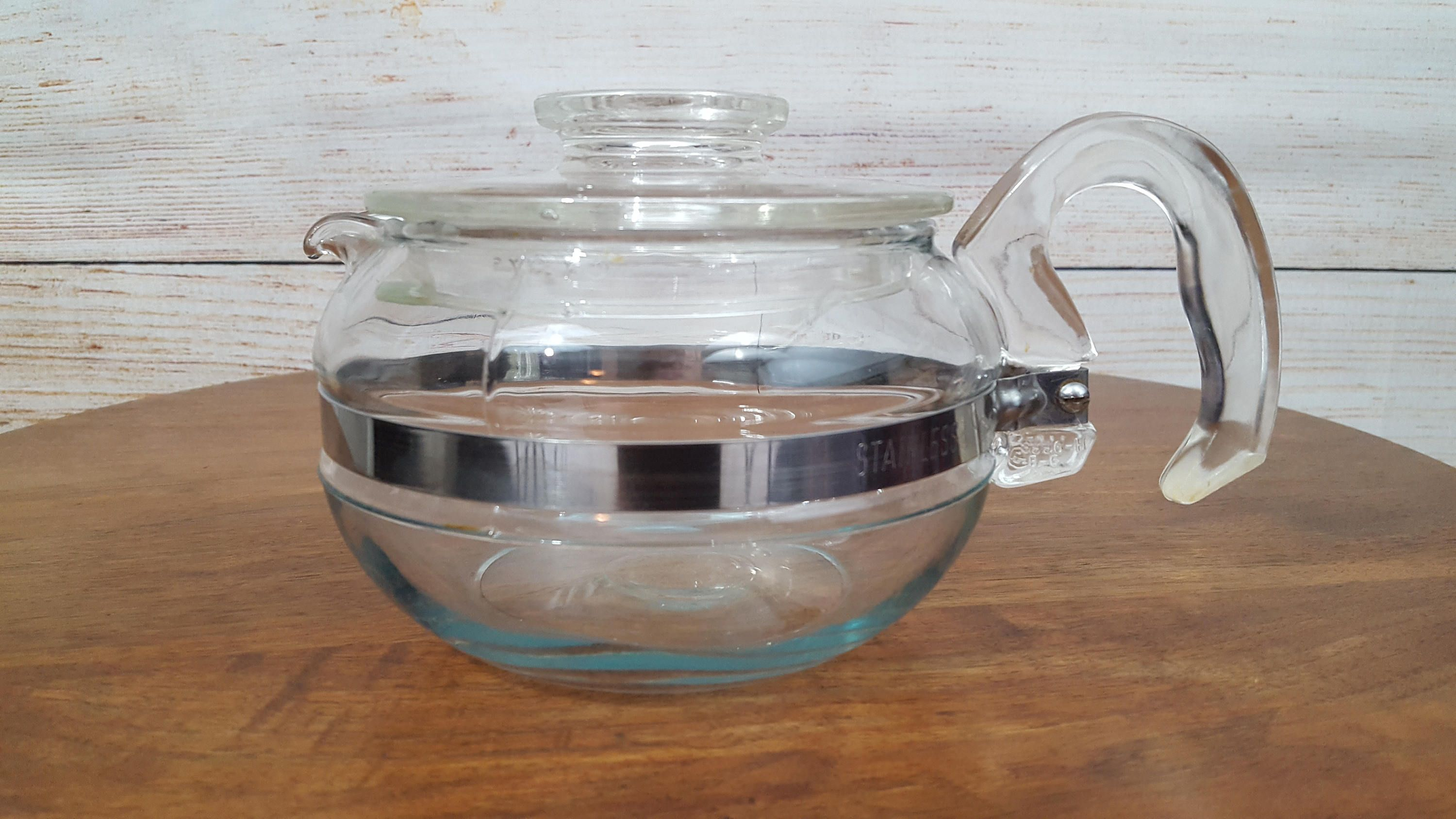 Pyrex Teapot, Flameware, Clear Glass, Stove Top/Flame