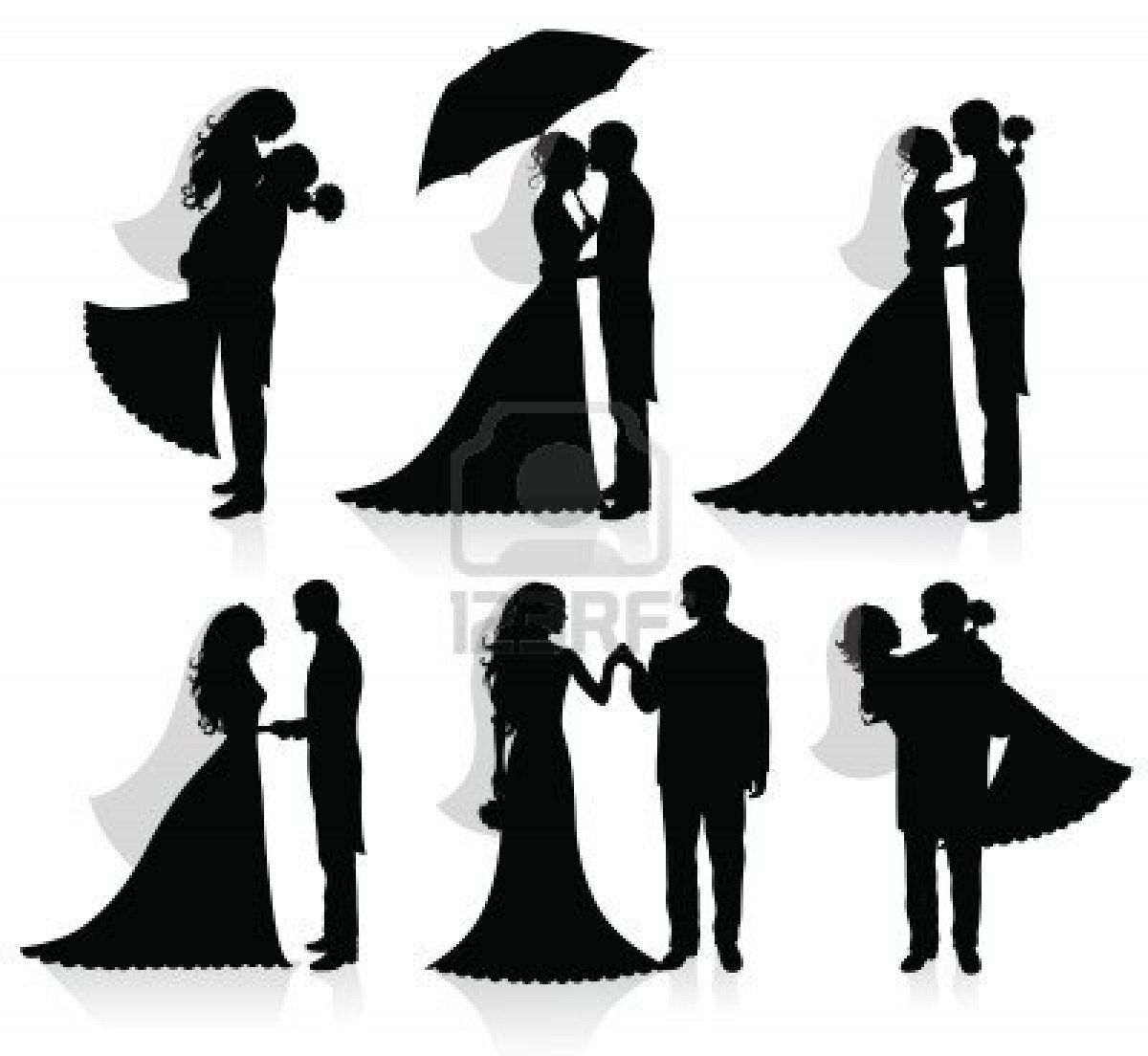 Set Of Vector Silhouettes Of A Groom And A Bride Wedding Silhouette Bride And Groom Silhouette Couple Silhouette