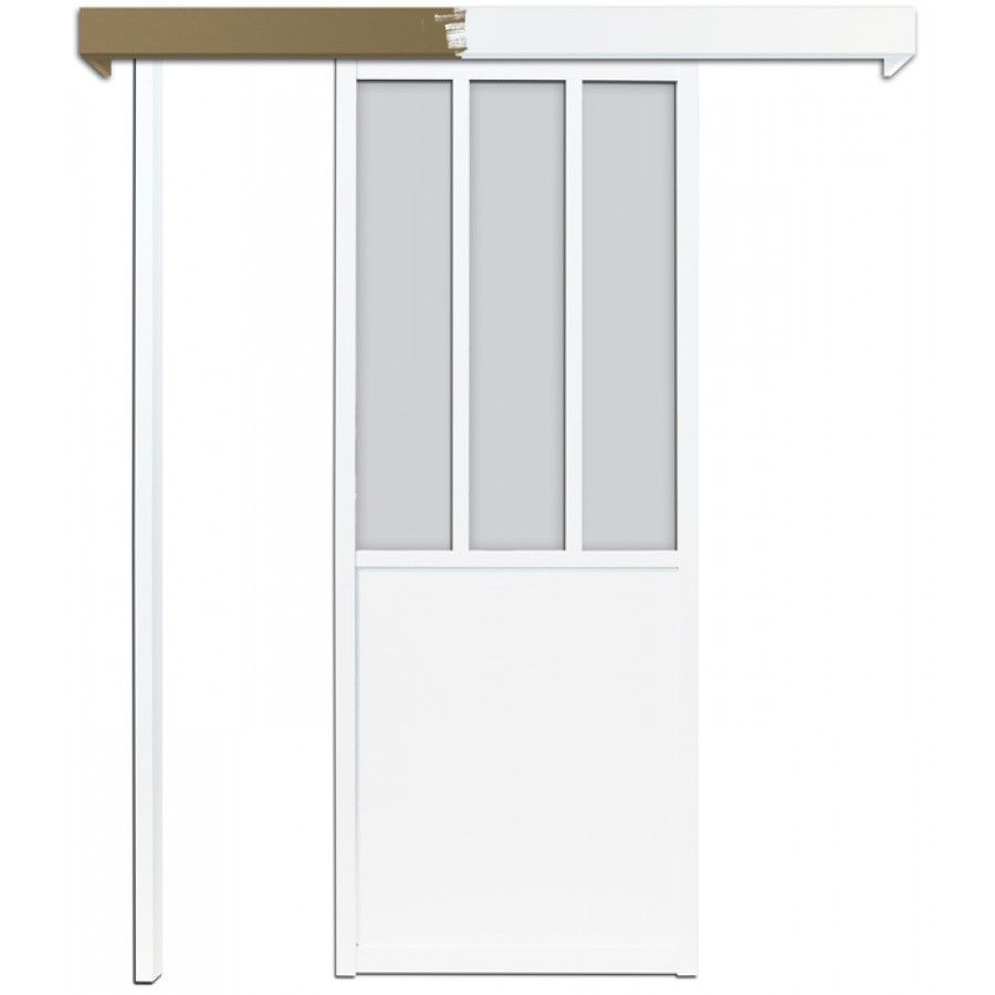 Lot porte coulissante atelier blanche 83cm skylab for Porte coulissante type atelier