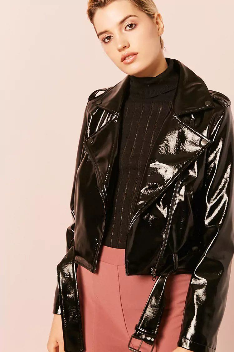 Product NameFaux Patent Leather Jacket, Category