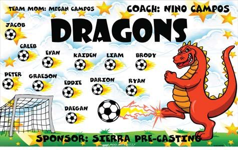 Dragons-151813-NOYSC digitally printed vinyl soccer sports team banner. Made in the USA and shipped fast by BannersUSA. www.bannersusa.com