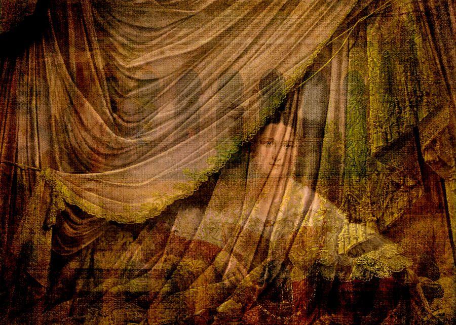 The Woman Behind The Curtain Curtains Vernon Digital Artwork