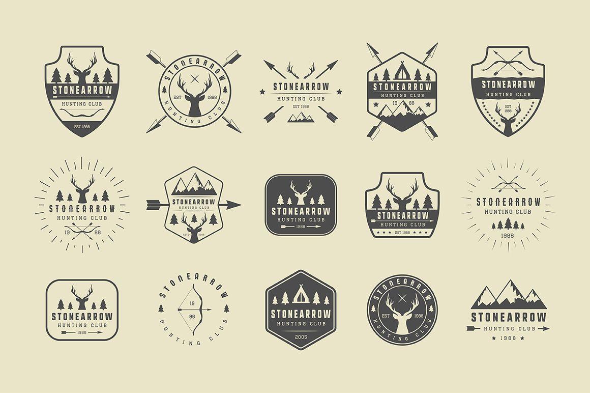 Set of vintage hunting logos Survival, Spellen