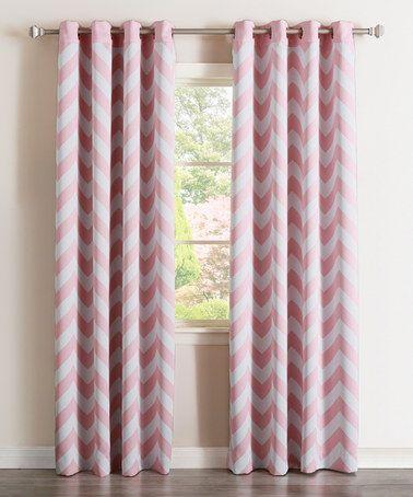 Pink Chevron Room Darkening Curtain Panel