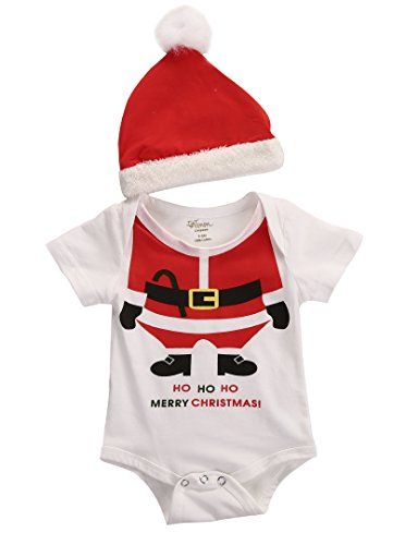 2Pcs Xmas Infant Baby Girls Romper Dress+Headband Christmas Red Santa Party Outfit