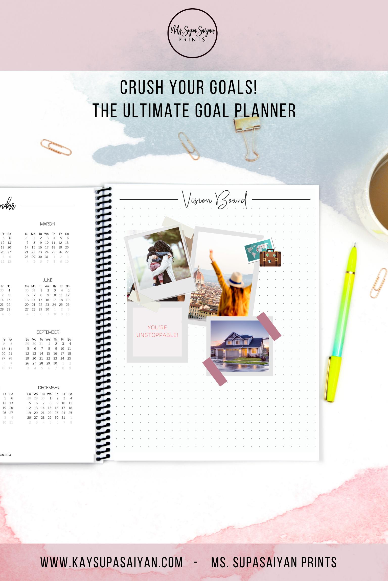 Goal Crusher Planner Plus Digital File Goal Planner Goal