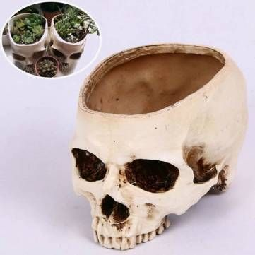 Only US$14.58 , shop Halloween Skull Horrible Flower Pot Resin Artifical Skull Head Flowerpot Decoration at Banggood.com. Buy fashion Garden Pots & Planters online.