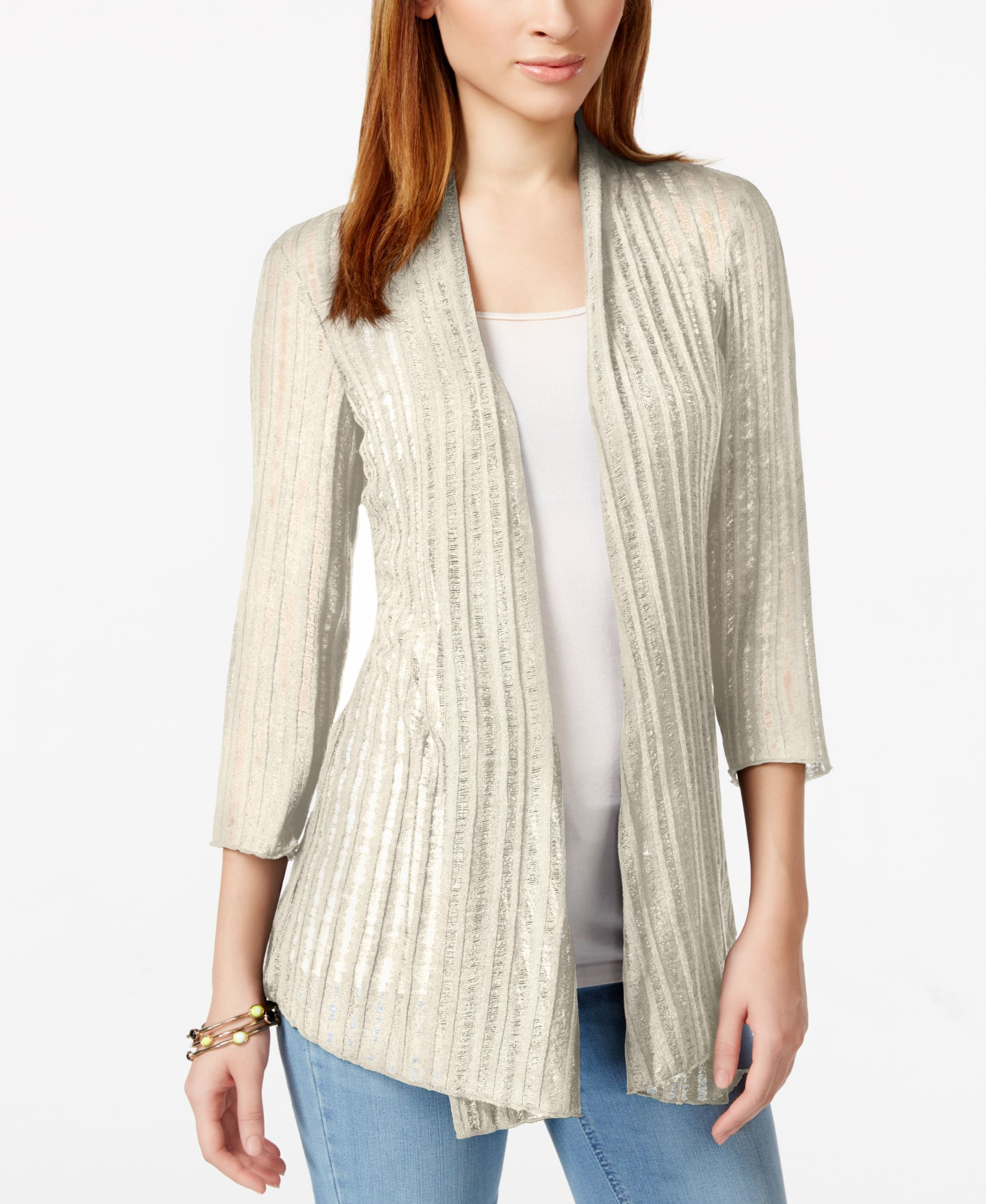 Jm Collection Open-Front Three-Quarter-Sleeve Cardigan, Only at ...