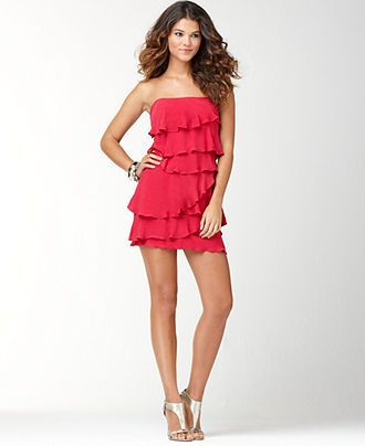 aef40abf031f6 Red Ginger Strapless Ruffled Tiered Dress Bcbgmaxazria Dresses, Tiered Dress,  Strapless Dress, Cute