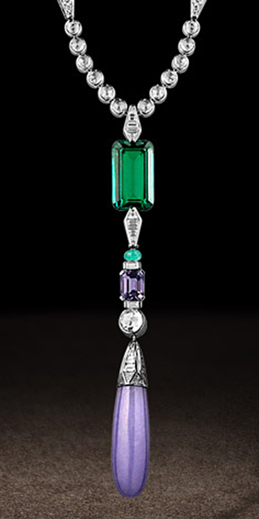 Necklace in platinum, diamonds, emeralds and spinels, set with an eight carat Colombian emerald and a twenty-eight carat lilac jade drop. Chaumet, Paris