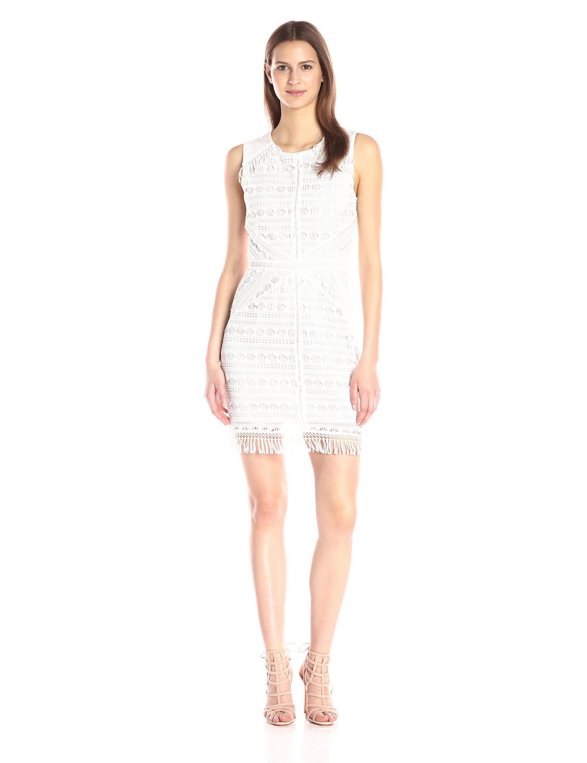 Greylin Women's Mina Fringe-Lace Dress, White, Medium. Sleeveless ...