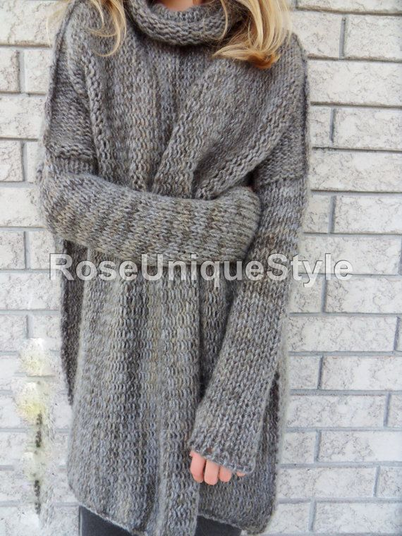 5604d3ecd Oversized woman knit sweater.Chunky Bulky loose knit sweater. Marble ...