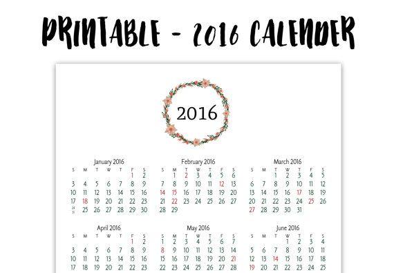 2016 Printable Calender, Full Page Calender, Printable Floral
